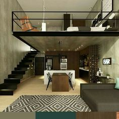 n industrial loft design was meant for an artist and it combines the best of both worlds. This industrial interior loft is a wonde Loft Design, Tiny House Design, Modern House Design, Design Case, Design Design, Loft House, House Rooms, Apartment Interior, Apartment Design