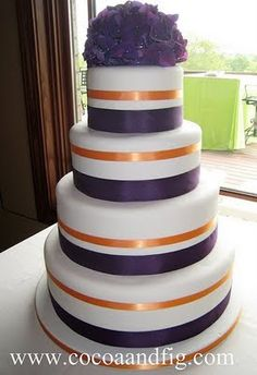 orange and purple wedding cakes | Purple & Orange with lace wedding ...
