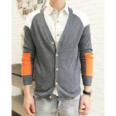 Casual Style V-Neck Slimming Color Block Long Sleeves Men's Cotton Cardigan on dresslily.com