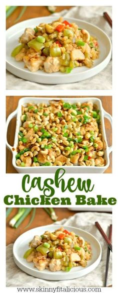This Cashew Chicken Bake is a simple, one dish dinner packed with protein and vegetables. A healthy gluten free, low calorie meal the whole family will love!