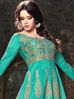 Fabulous Sea Green Art Silk Anarkali Anarkali Dress, Anarkali Suits, Punjabi Suits, Churidar, Salwar Kameez, Salwar Suits Online, Designer Anarkali, Green Art, Sea