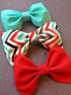 Retro Chevron aqua red grey black bow and aqua and red bow handmade fabric bow tie hair bow Collection on Etsy, $13.75