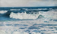 Frederick Judd Waugh, Seascape with Breaking Waves, oil