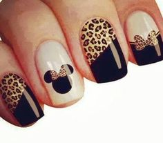 Uñas con animal print más unhas lindas, unhas fáceis, unhas do pé, unhas Fabulous Nails, Gorgeous Nails, Pretty Nails, Mickey Nails, Minnie Mouse Nails, Leopard Nail Art, Cheetah, Hot Nail Designs, Cute Acrylic Nails