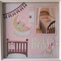 (Now+I+lay+me)+Down+to+Sleep - Scrapbook.com I used my Cricut and several carts to compose this layout featuring my newborn sleeping in her crib. Carts include: April Showers, Baby Stpes, CTMH Art Philosophy, and Storybook (S)