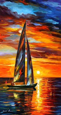 Sailing with the Sun — PALETTE KNIFE Oil Painting by AfremovArtStudio, I love paintings of outdoors and bodies of water. It's something calming and soothing about them, I love the use of complementary colors blue and orange because it gives it that feeling as though the day is just beginning or maybe the end of the day