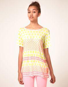 Hetis Colors Neon Hand Block Printed Boyfriend Tee
