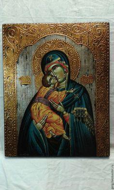 Купить Икона Божей Матери с Христом единственная ручная работа - золотой, дерево, икона Painting, Art, Craft Art, Paintings, Kunst, Gcse Art, Draw, Drawings, Art Education Resources
