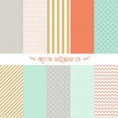 Mint   Coral  Gold  Seamless Patterns  Digital by PrettySplendidCo, $4.99