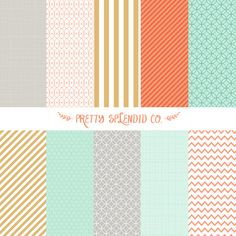 Mint Coral Gold Seamless Patterns Digital by PrettySplendidCo