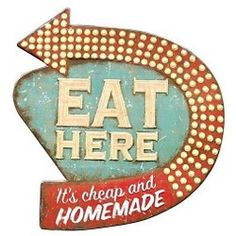 "Studios 16 in. H x 15 in. W ""Eat Here"" Retro Wall Art - The Home Depot : Home Decorators Collection 16 in. H x 15 in. W ""Eat Here"" Retro Wall Art"