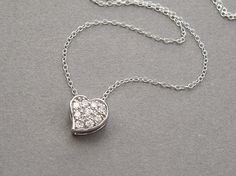 Silver heart necklace sterling silver cubic zirconia by sevenstarz