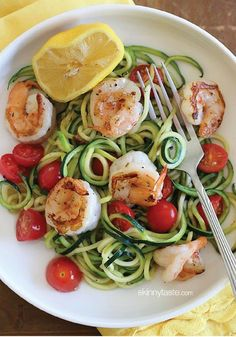 Lemon-Garlic Spicy Shrimp with Zucchini Noodles – This recipe takes less than 20 minutes to make, start to finish!