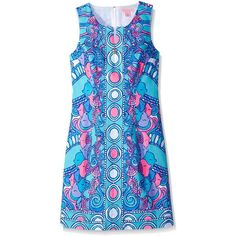 Lilly Pulitzer Women's Abigail Shift Dress (£135) ❤ liked on Polyvore featuring dresses, blue dress, print dress, lilly pulitzer, blue shift dress and patterned shift dress