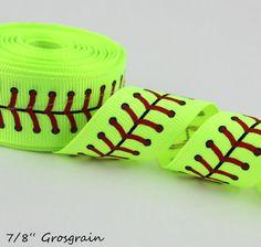 "5yds-7/8"" Printed Ribbon- Sports Ribbon, Printed Ribbon, Softball Ribbon, Softball Stitching on Etsy, $4.50"