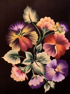 One Stroke Pansies. Painted by Hazel Lynn.