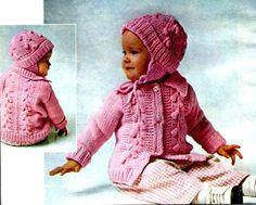 Vintage Knitting Pattern Pink Baby Sweater by kayscrochetpatterns