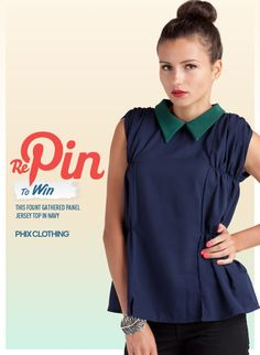 Fount Gathered Panel Jersey Top in Navy. from Phix clothing John Crane, Trending On Pinterest, Chef Jackets, Competition, Fashion Accessories, Boards, Spaces, Navy, My Style