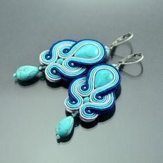 Long Turquoise Blue Soutache Earrings - Turquoise Soutache Earrings - Long Navy Blue Earrings - Blue Embroidered Earring - Oriental Jewelry by OzdobyZiemi on Etsy