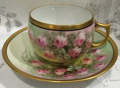 Vintage Bone China Cup & Saucer hand painted