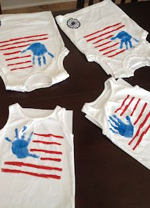 Patriotic shirts-kids to make for fourth of july or memorial day parade? Kids of all ages can do this! July Crafts, Summer Crafts, Crafts To Do, Holiday Crafts, Holiday Fun, Crafts For Kids, Kids Diy, Food Crafts, Holiday Ideas