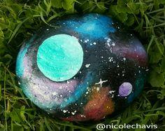 River Rock, Painted Rock, Galaxy Stone, Pebble, Painted Stone, Mandala Stone