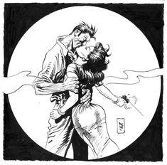 Torpedo, illustration by Jordi Bernet. Art And Illustration, Illustrations And Posters, Art Pop, Jordi Bernet, Linear Art, Art Vintage, Comic Kunst, Ouvrages D'art, Black White Art