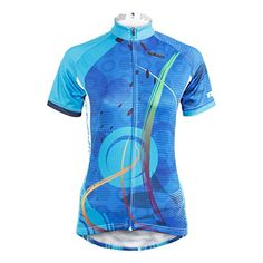c827ce59c Amazon.com  QinYing Women s Short Sleeve Outdoor Bicycle Bike Cycling  Jersey Top Blue S  Clothing