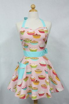 Retro Apron Sweetheart Neckline Pink Yummy Pies BELLA by Boojiboo, $28.75