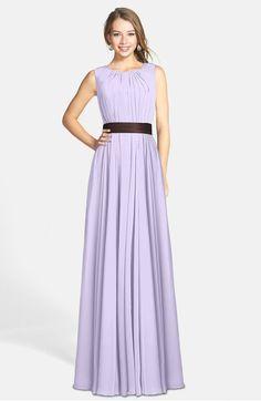 Glamorous Sleeveless Zip up Chiffon Floor Length Ruching Bridesmaid Dresses