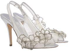Silver swarovski crystal wedding shoe