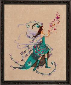 Nora Corbett The Leaf Collector - Cross Stitch Pattern. Model stitched on 32 Ct. Natural Light Linen with DMC floss, Caron Waterlilies thread, Kreinik #4 Braid