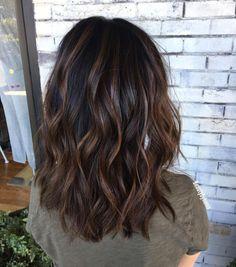 Brown Hair Balayage, Brown Hair With Highlights, Hair Color Balayage, Copper Highlights, Black Hair With Brown Highlights, Balayage Hair Dark Black, Black Brown Hair, Brunette Highlights, Hair Color For Black Hair