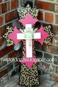Large Leopard and Hot Pink Cross with a Wrought by twistofdazzle, $45.00