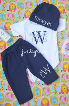Personalized Navy and Gray Bodysuit Hat  and Pant by juniegrace