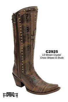 Corral Brown Crystal Cross Stripes and Studs Women's Cowgirl Boots - HeadWest Outfitters