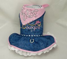 Small dog bandana harness dress. Cowgirl embroidery by poshdog, $60.00