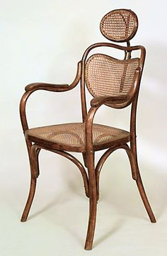 Austrian Bentwood (19/20th Cent) barbers chair with cane seat and back