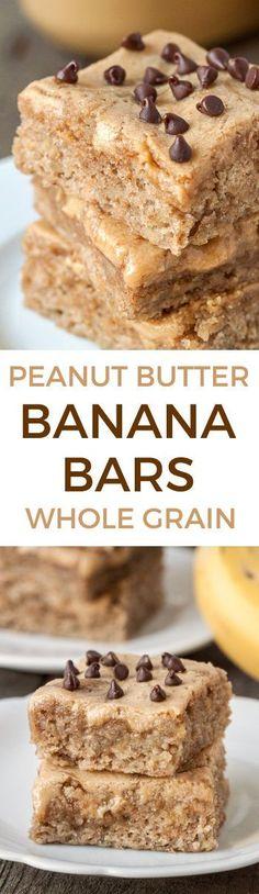 Peanut Butter Banana Bars (whole grain, dairy-free) - Texanerin Baking