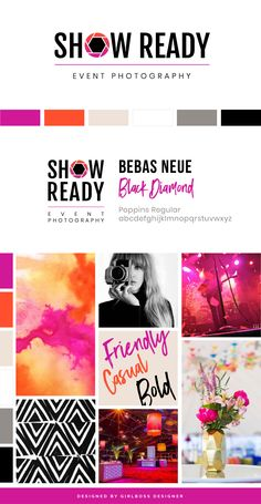 Modern, Edgy Branding Update and Website Design for San Francisco based Event Photography Business, Show Ready. The Fun, Bright Moodboard and Color Palette has pops of fuschia pink and orange. Business branding and design by Girlboss Designer. Branding Kit, Branding Design, Logo Design, Business Branding, Branding Ideas, Brand Identity, Graphic Design, Photography Branding, Photography Business