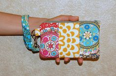 Cameo and Wall Flower - Patchwork Wristlet Purse with Removable Strap and Interior Pocket