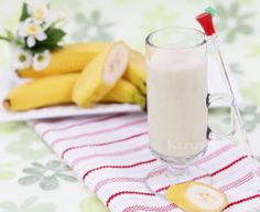 Shop Kuvings juicers, blenders, and parts today! Fresh Juice Recipes, Banana Milk, Juicers, Detox, Glass Of Milk, Almond, Drinks, Healthy, Book