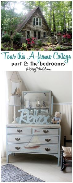 Take a tour of the bedrooms of the this lovely French County A-frame cottage, with Nantucket or seaside kids' room and French master bedroom and bath~NTS- Frame is knotted with rope to hang, light boat image on dresser~ French Master Bedroom, French Country Bedrooms, Diy Blanket Ladder, Loft, Coastal Living, Cottage Style, Decoration, My Dream Home, Painted Furniture