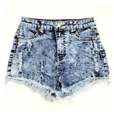 Jeannine High Waisted Shorts Medium Acid Wash Bayberry Co. ❤ liked on Polyvore featuring shorts, destroyed shorts, ripped shorts, high waisted shorts, highwaist shorts and torn shorts
