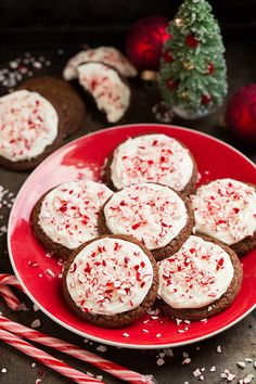 Frosted Peppermint Brownie Cookies.