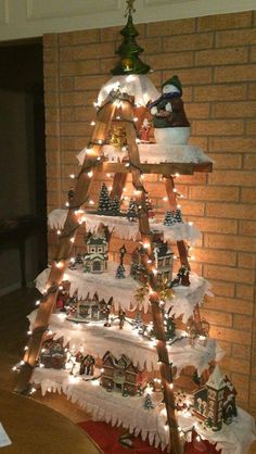 DIY decorating: 101 Christmas DIY Decorations Easy and Cheap christmas crafts for adults handmade gifts 101 Christmas DIY Decorations Easy and Cheap Easy Christmas Decorations, Christmas Village Display, Christmas Villages, Ladder Christmas Tree, Outdoor Decorations, Christmas Decorations Apartment Small Spaces, Apartment Christmas, Handmade Decorations, Outdoor Ideas