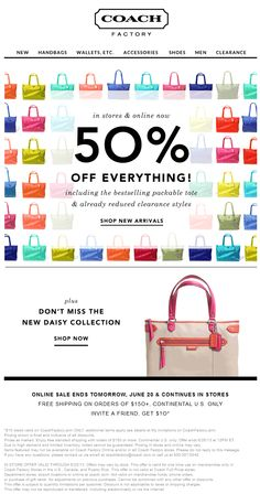Pinned June 21st: Extra 50% off everything at Coach Factory locations coupon via The Coupons App