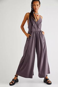 Luna One-Piece | Free People Beach Day, Wide Leg, Free People, Dressing, Harem Pants, One Piece, V Neck, Legs, Clothes