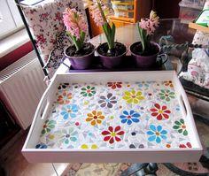Bandeja bandeja/Daisy / servir bandeja de mosaico