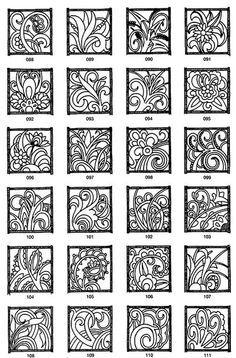 Digital stamp / stencil with flowers Stencil Patterns, Zentangle Patterns, Zentangles, Doodle Patterns, Aluminum Foil Art, Tin Foil Art, Stencils, Pewter Art, Metal Embossing